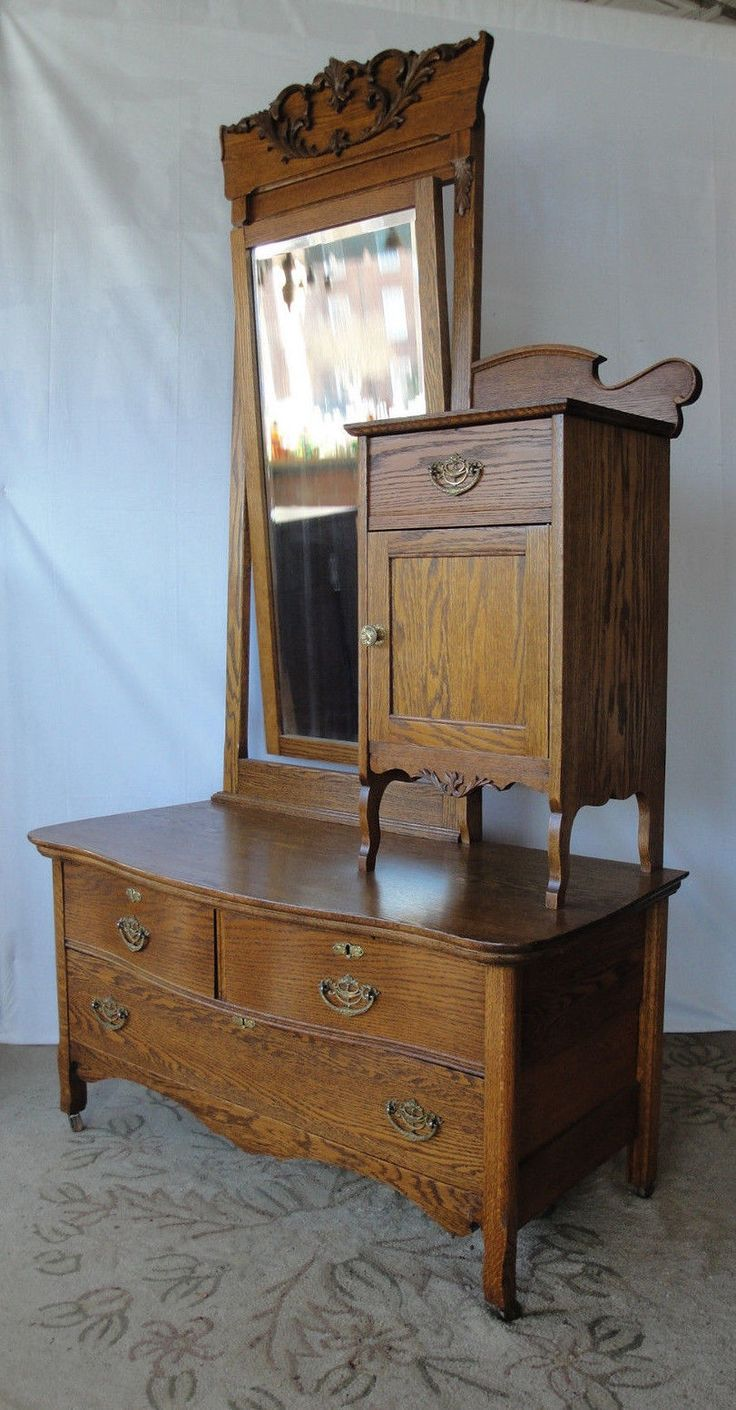 Mahogany antique furniture 2 best images collections hd for gadget - Antique Victorian 1890 S Tiger Oak Che Val Dresser With Hat Box Cabinet