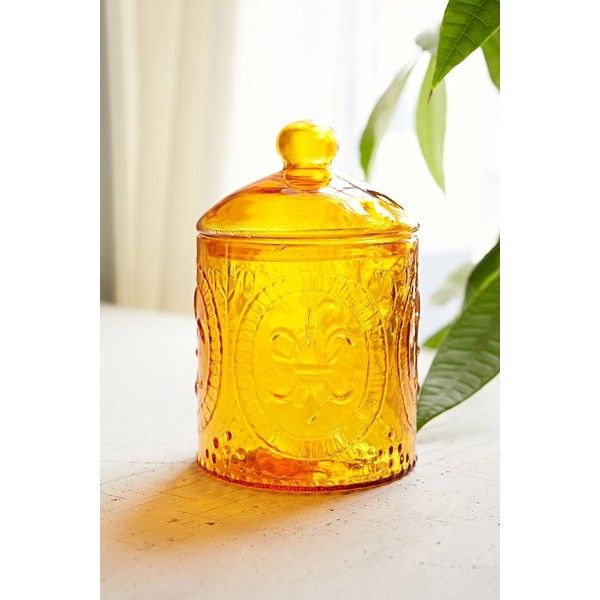 Fleur de lys glass jar featuring polyvore home kitchen for Glass jar kitchen ideas