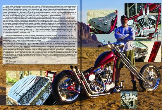 Spread in April 2013 Horse Backstreet Chopper of Elliott Morehardt and his pan head Masterbeast! www.gothardt.com