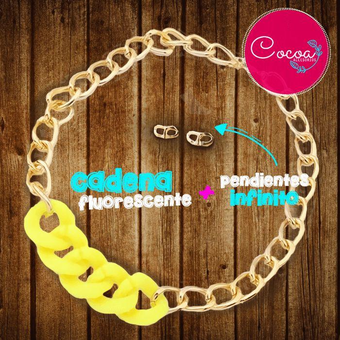 Cadena fluorescente (amarillo) + pendientes infinito #accesorioscocoa #accesoriosmujer #collares