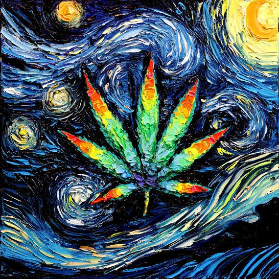 Marijuana Leaf Art  Psychedelic Pot Leaf  by SagittariusGallery