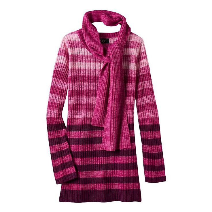 Plus Size Girls 7-16 It's Our Time Marled Ombre Sweater Tunic with Scarf, Girl's, Size: L Plus, Pink Other