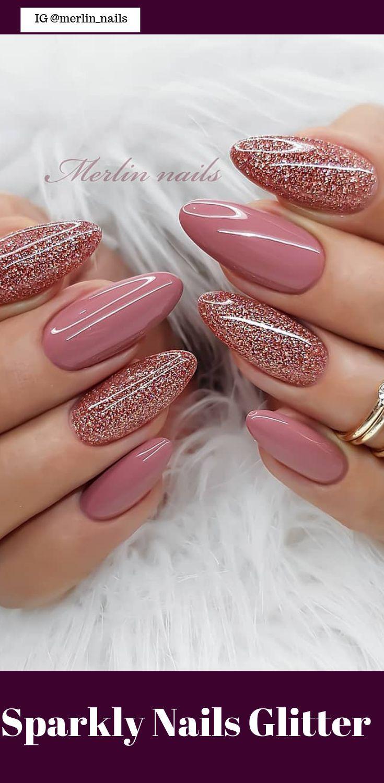 50 Pretty Sparkly Nails Glitter Easy 2019