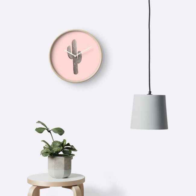 Feeling Prickly - Cactus Print in Peach Clock by Orion Rose . . . #art #design #throw #pillow #couch #living #room #bed #bedroom #interior #decor #cozy #watercolor #digital #plants #cactus #cacti #texture #nature #graphic #pink #peach #dogwood #minimalist #minimal #minimalism #southwest #southwestern #pale #aesthetic #desert