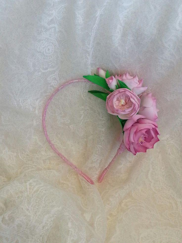 Ободок с цветами олеандра из фоамирана