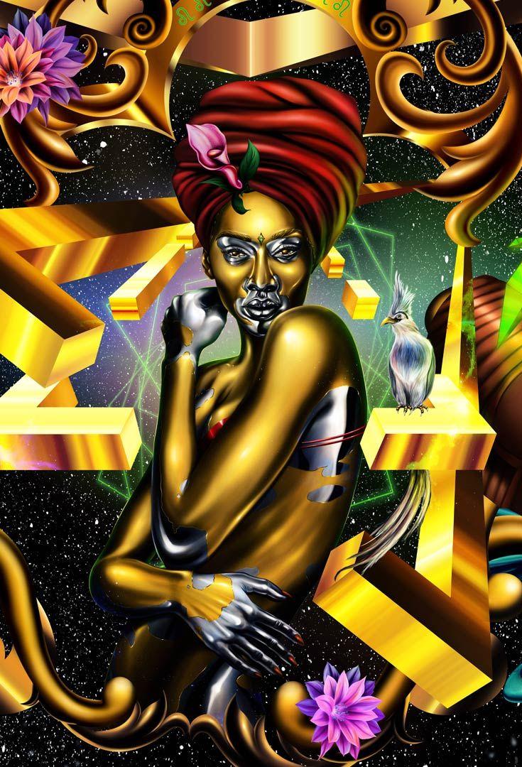 gold and black artwork