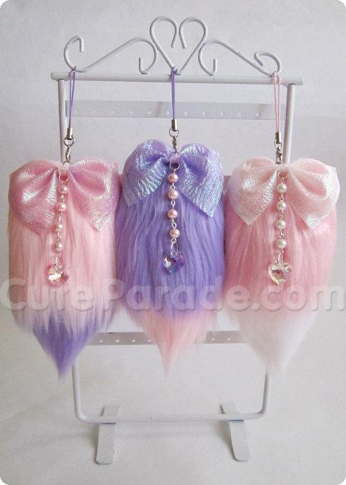 Ready To Ship Mini Faux Fur Fox Tail Cell Phone/Bag Charm Kawaii Fairy Kei Lolita (Pick 1). $15.00, via Etsy.