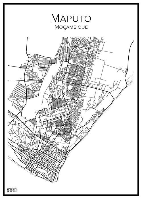 Maputo. Moçambique. Map. City print. Print. Affisch. Tavla. Tryck. Stadskarta.