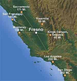 Fresno is located in the heart of California, with short drives to San Francisco, Yosemite National Park, Sacramento, Monterey, Los Angeles, and Kings Canyon National Park