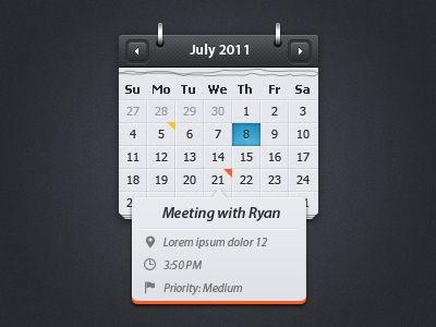 Calendar wtih event preview [psd freebie]