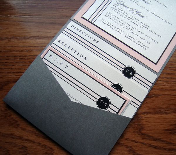 invitations maybe in red + grey like their wedding colors