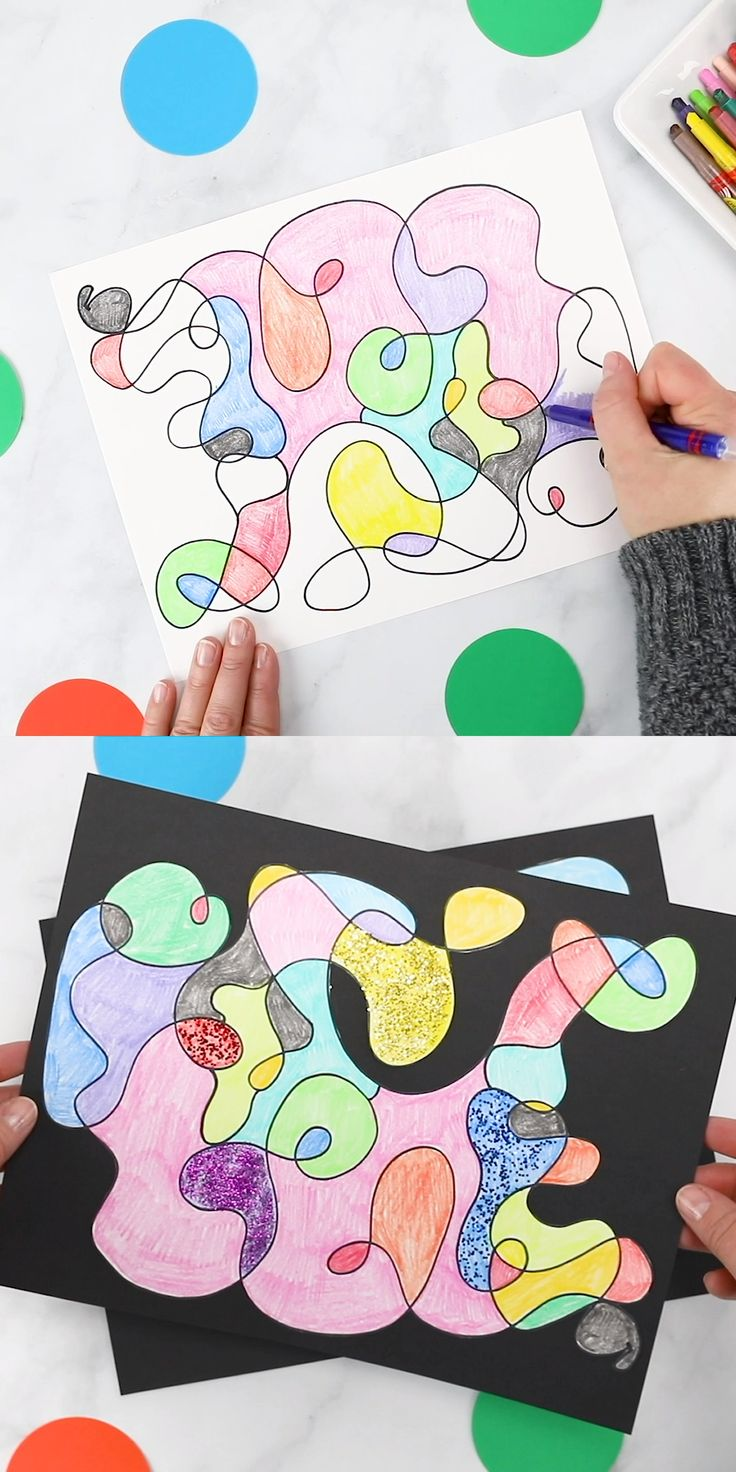 DIY Craft: Scribble Art - Such an easy and fun process art idea for toddlers, preschoolers, and school-age kids. Bust boredom, practice fine-motor skills, and create colorful works of art at home or schoo! #art #kids