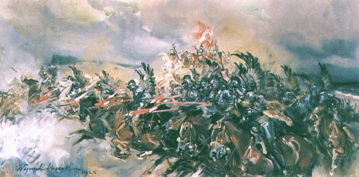 """""""Charge of the Winged Hussars at the Battle of Kircholm"""", 1925, oil on canvas, 40 x 80 cm, private collection by Wojciech Kossak"""