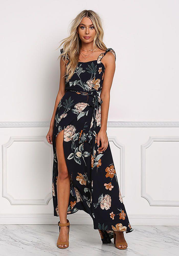 21215a25753 Navy Floral Faux Wrap Cut Out Maxi Dress