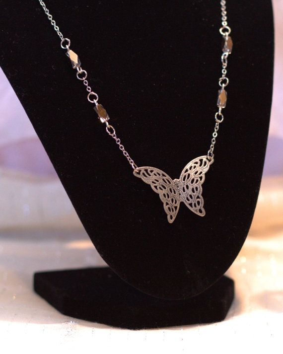 Gold Butterfly Necklace and Earrings Allergy safe by BeyondtheWire, $23.95