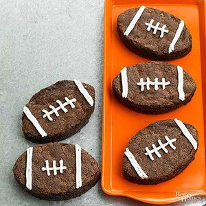 Fudgy Football Brownies From Better Homes and Gardens, ideas and improvement projects for your home and garden plus recipes and entertaining ideas.