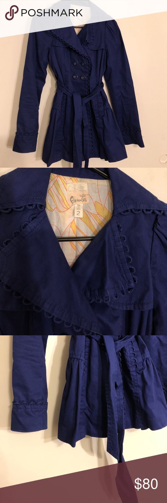 Anthropologie Peacoat Elevenses. Excellent used condition with no flaws. Little signs of wear on the edge of the sleeves. No fading in the color. Rich royal blue. Anthropologie Jackets & Coats Pea Coats