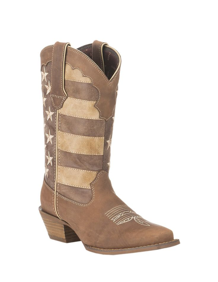 Durango Ladies Tan with Distressed American Flag Upper Western Snip Toe Boots | Cavender's