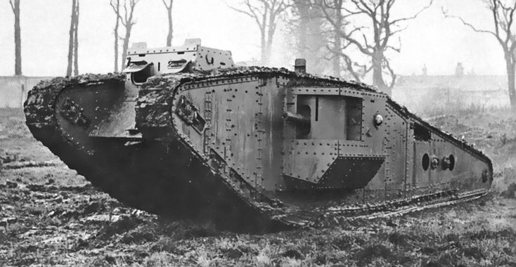 """One of the few Mark IV experimentally fitted with a """"tadpole tail"""", helping the crossing of large trenches, like those of the Hindenburg line. This added part never shown enough sturdiness and production never materialized. The idea of a longer hull was realized by the Mark V*, a variant of the former, at the end of the war."""