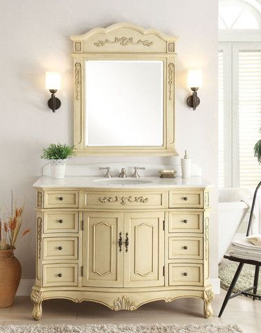 Website Picture Gallery  Classsic Style Pastel Beige Fairmont Bathroom Sink Vanity u Mirror Set BC W LT MIR