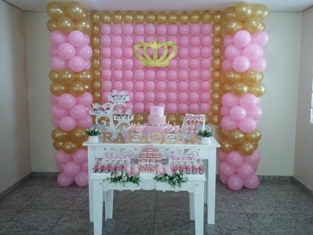 Festa coroa rosa e dourado- promoção