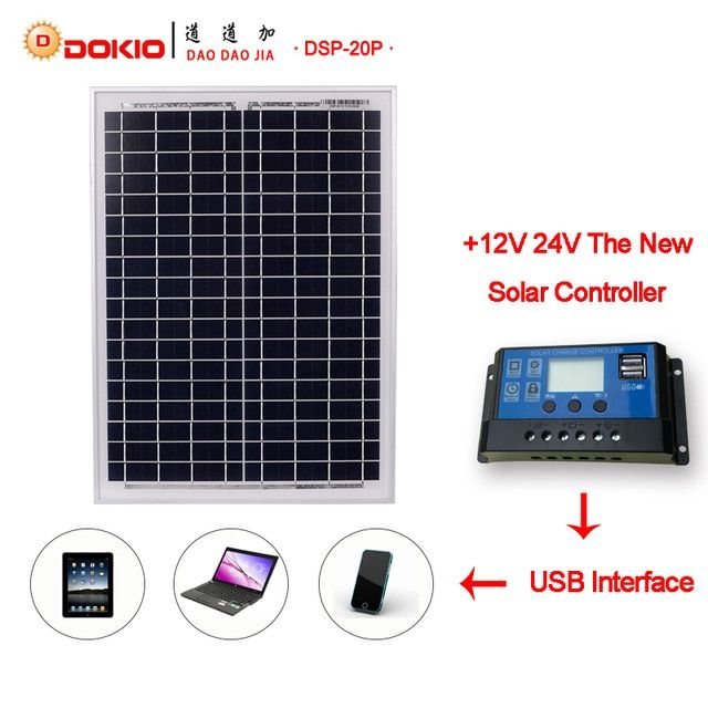 Dokio Brand Solar Panel China 20w Blue Solar Panels 10a 12v 24v Controller With Usb Interface Battery Travel Power S Solar Portable Solar Panels Solar Panels
