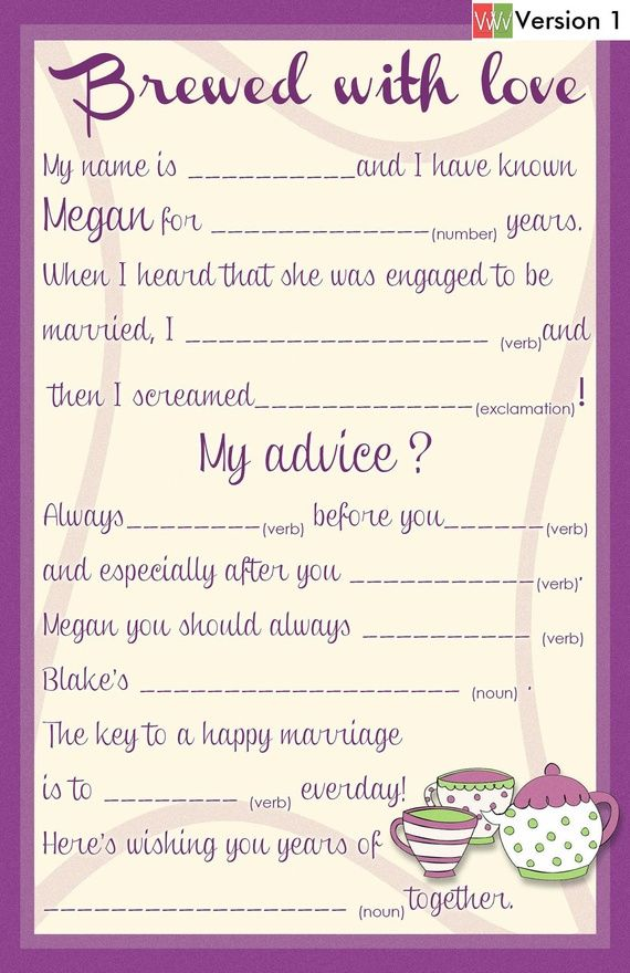 Bridal Shower/ Wedding Guest Book Alternative Mad Lib Cards - Tea Party Theme. $12.00, via Etsy.
