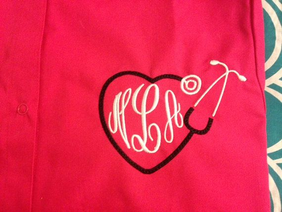 Custom Embroidered and Monogrammed Scrub Jacket on Etsy, $40.00