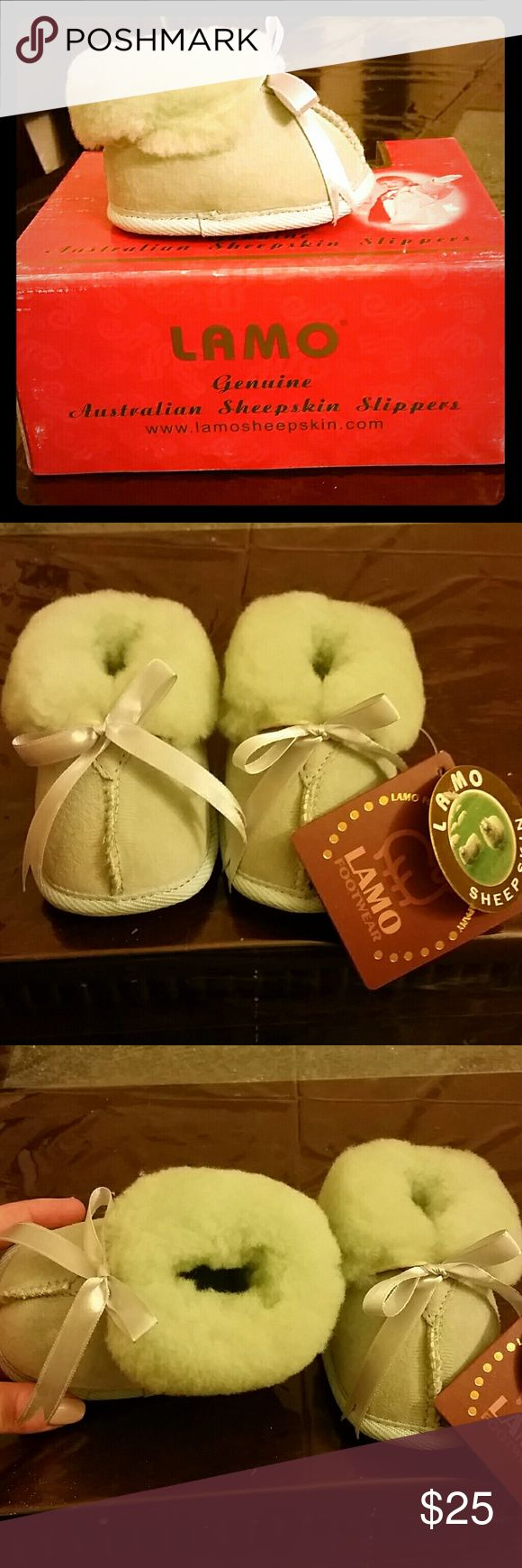 CLEARANCE Baby wool booties. Unisex Brand new size small baby booties made from Sheepskin.  Merino wool.  Warm and cozy for winter.  Very similar to uggs. Color is mint green.  Unisex will be good for both girls and boys  Size Small is 4 inch about size 3 infant.  Box is little faded due to shipping. The true color of the shoes are on the last pic Lamo Shoes Boots
