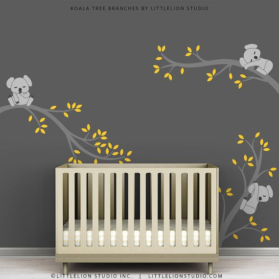Children's Wall Decal Gray and Yellow Kids Room by TheKoalaStore, $79.00