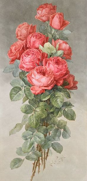 Paul de Longpre Spray of American Beauty Roses 1898