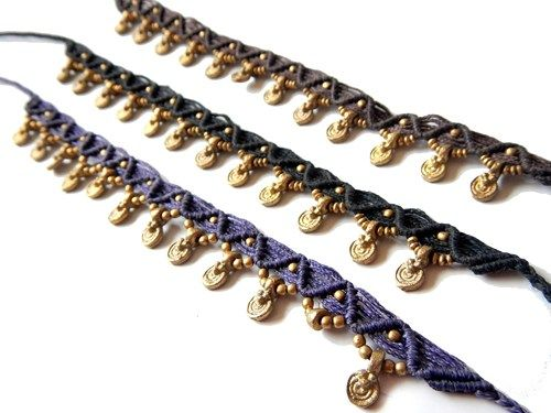 Macrame Anklet with Brass Dangle Round Charms - Brown, Black, Purple