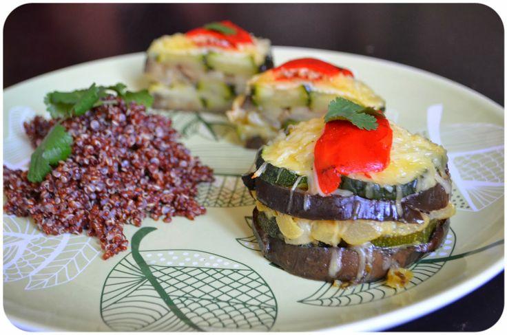 Pasteles de verduras asadas a la leche de coco y miel con quinoa roja {Sin Gluten}