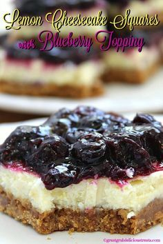 Lemon Cheesecake Squares with Blueberry Topping - Two all time favorites in a delicious dessert which is perfect for the lemon and blueberry lovers. Yummy!
