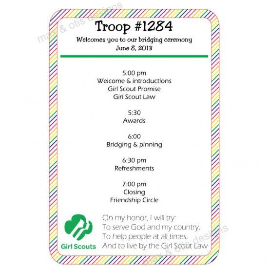 Girl Scout bridging ceremony printable invitation with ...