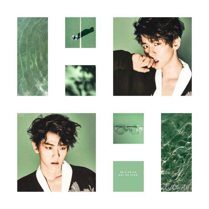 Lu.On.Art Baekhyun EXO green collage