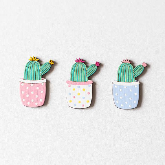 This cute cactus wooden brooch will be great on your denim jacket, cardigan, scarf, dress, shirt or even backpack. ► Size: 4*3 cm ( 1.57*1.18 in)  ► Laser cut and engraved on a 3mm birch plywood. ►Hand painted with non-toxic acrylic paint and covered with 2 coats of acrylic matte varnish. ______________________________  Important: ★ each item is unique, the item on a photo is an example ★ colors may vary from one monitor to another. ★ varnish protects brooches from rain/snow/etc., b...