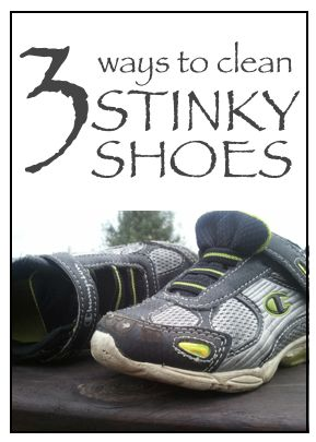 2 parts vinegar and 1 part hot water, soak the insoles for a few hours  Place the shoes in a clean freezer bag (I'm sure you don't want shoe germs all over your food!) and let the cold kill the bacteria for 24 to 48 hours.   Wash stinky shoes in the washing machine.