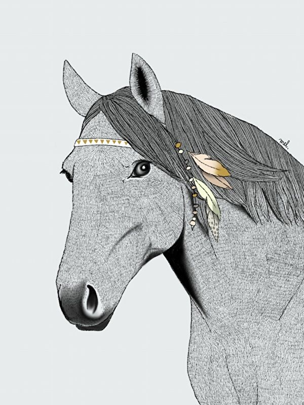Poster Paard met veertjes A3 - Minimel via HippeKidsKamer