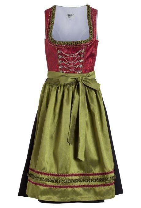 K&L | Edles Dirndl Rot/Grün - 70 cm | Online günstig auf Rechnung kaufen