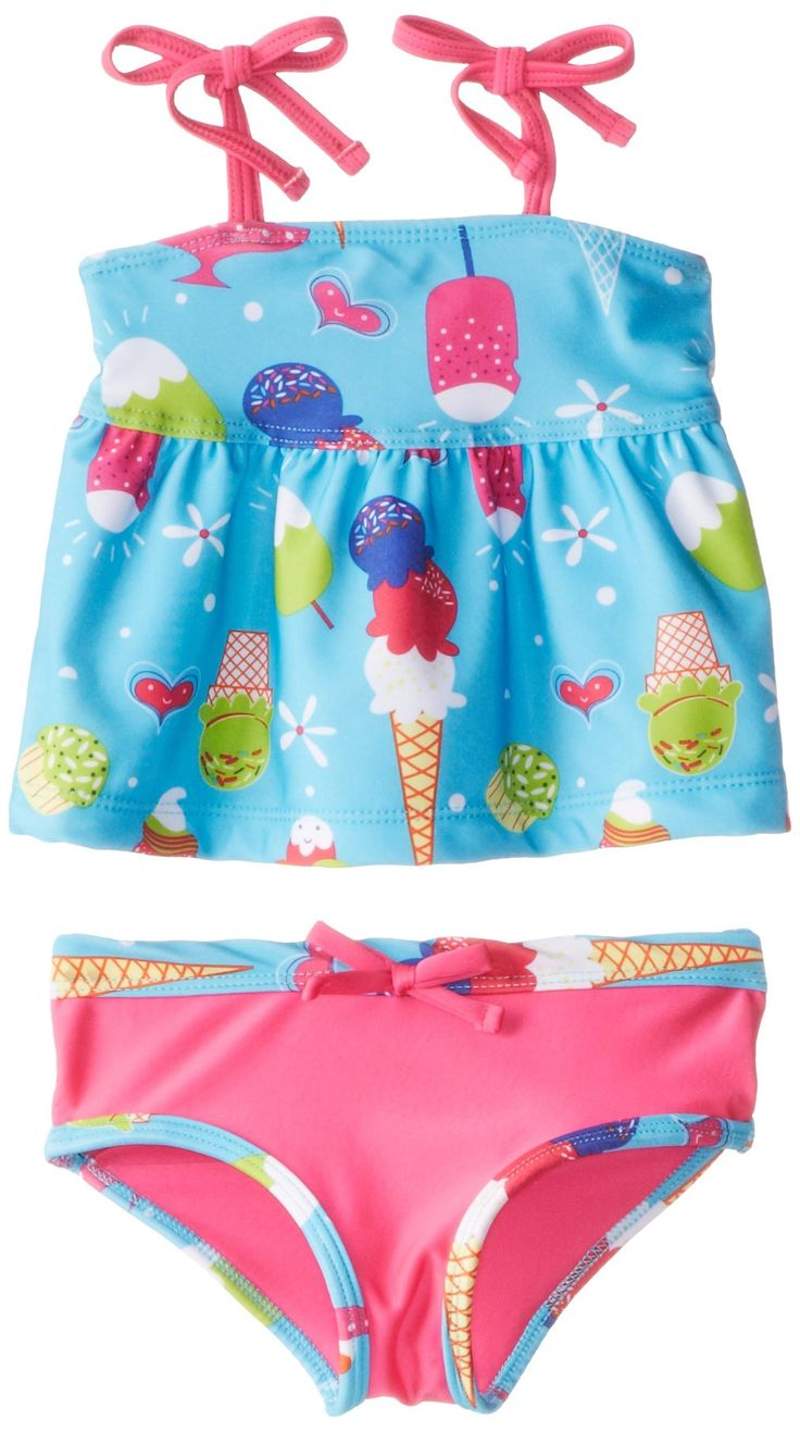 Pink Platinum Little Girls' Ice Cream Tankini, Turquoise, 2T. Adjustable tie top. Solid brief bottom with ice cream trim detail.