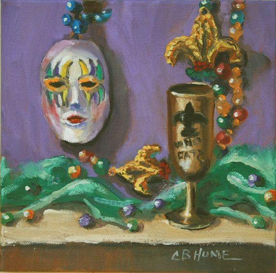 Mardi Gras Still Life I New Orleans Louisiana Art by HumeArtStudio, $60.00