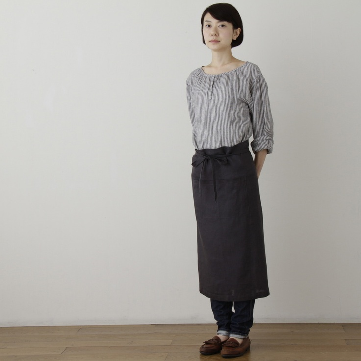 shop fog linen — Garcon Apron: Blue Grey