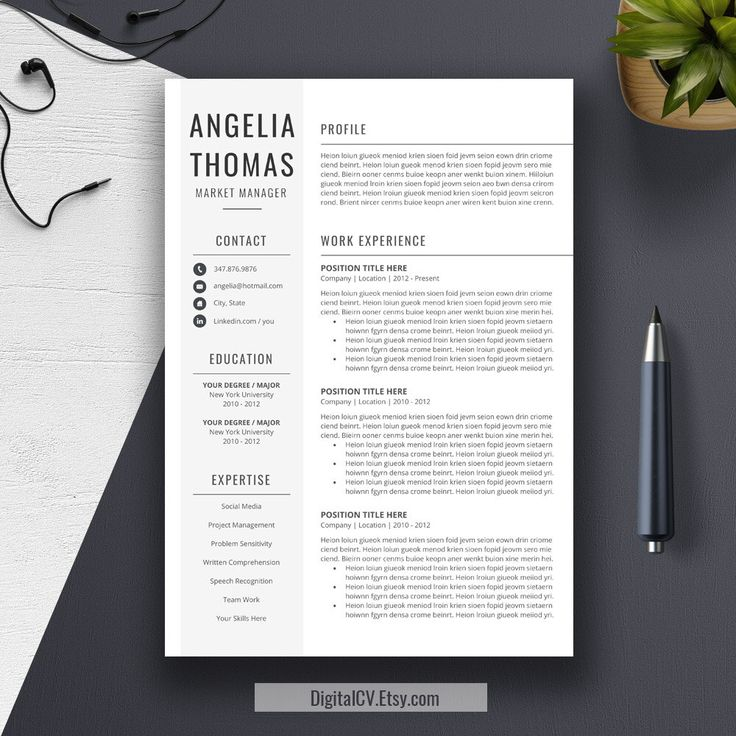 professional resume template cover letter word us letter a4 cv template
