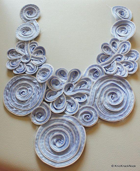 Blue Satin Fabric Neck Collar Trim Flower by KnicKnackNook on Etsy