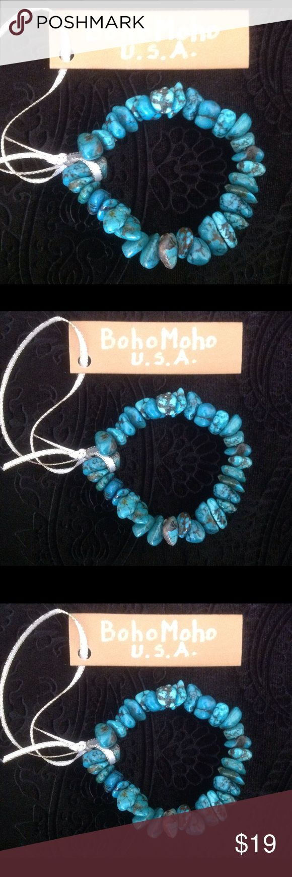 Turquoise natural stone bracelet Meaning and uses of turquoise is known to be the oldest stone in history as talisman of kings, shamans and warriors. This stone is used for protection and healing, especially of the eyes! This bracelet is stretch so easily fitting everyone, and it's really beautiful! BohoMoho Jewelry Bracelets