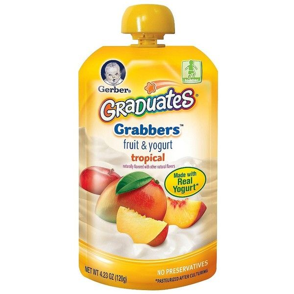Gerber Graduates Fruit and Yogurt Grabber Tropical 4.23 oz ($1.47) ❤ liked on Polyvore featuring baby food, food, baby stuff, baby and baby things