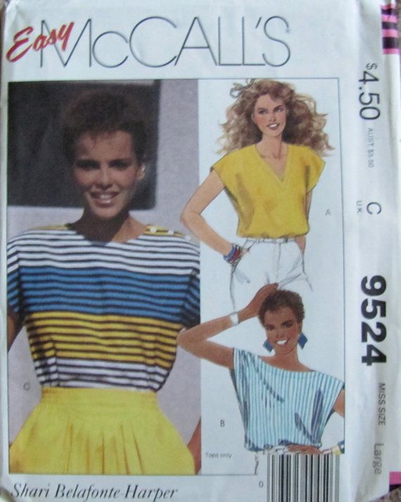 Shari Belafonte on envelope, Vintage 80s McCalls 9524 Misses' Tops Size by SewYesterdayPatterns, $6.00