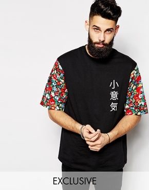 Reclaimed Vintage Longline T-Shirt With Floral Mid Length Sleeve $26.16