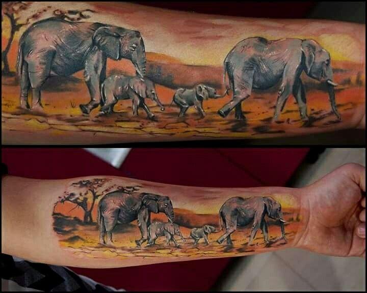 elephant tattoo , elephant family